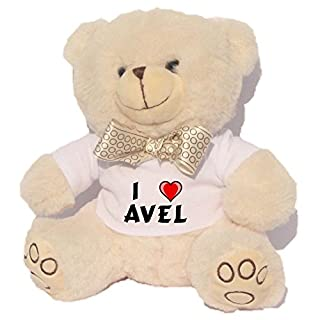 Personalised white bear plush toy with I love Avel T-Shirt (first name/surname/nickname)