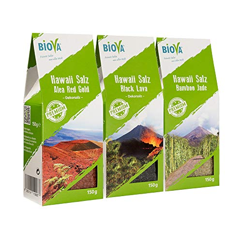 3er Hawaii Salz Probier- Mix Set je 150g Red Gold (rot), Bamboo Jade (grün) 150g Black Lava (schwarz)*