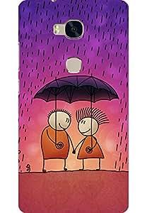 AMEZ Huawei Honor 5X High Quality Printed Back Case (Love Couple in rain)