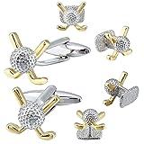 Hawson - Gemelli e bottoni da uomo, perfetti per camicie e smoking, ideali per matrimoni e lavoro e Rame, colore: Silver Gold Golfball, cod. H40080