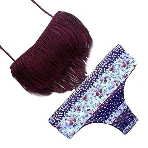 Italily - Floral Nappa Donne Costumi da bagno Bikini Set benda Push-Up imbottito costume da bagno (Size:L, viola)
