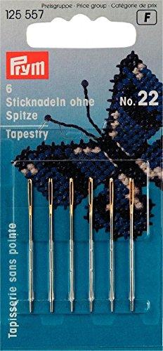 Prym Sticknadeln für Kreuzstich- und Gobelin-Stickerei, mit goldfarbenem Öse, 6 Stück