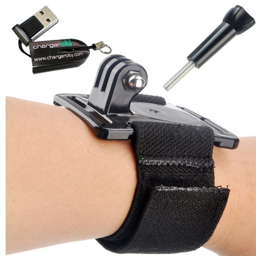 chargercity-wrist-strap-band-mount-for-gopro-hero-2-hero3-black-silver-platinum-edition-w-free-charg