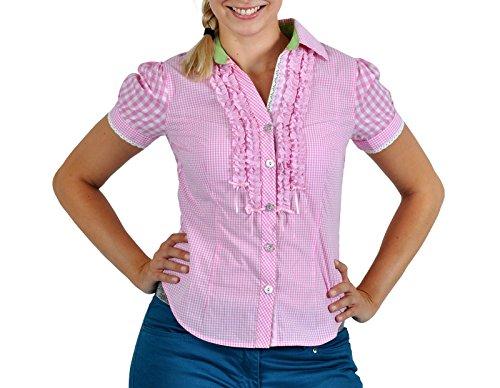 Womens Oktoberfest Fraulein Kostüme (Trachten Karo Bluse Damen Deluxe zum Oktoberfest rosa-weiß Kurzarm Baumwolle -)