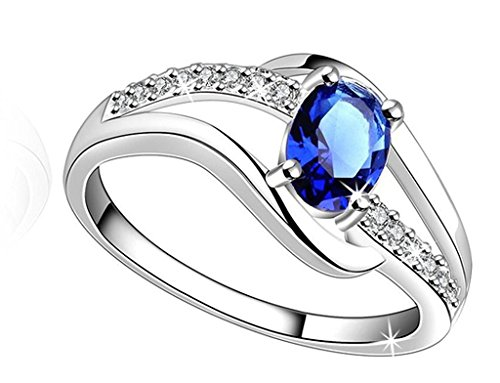 Lady touch Silver Plated Blue Diamond Ring For Girl's And Women's_Adjustable (Free Size)