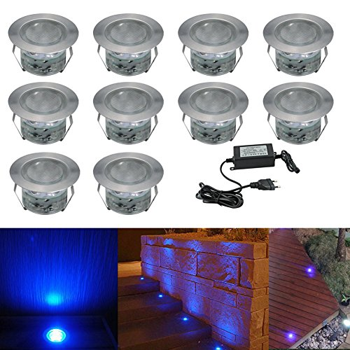 10x Spot LED Éclairage extérieur Encastrable, IP67 1W Acier inoxydable Spots à Encastrer Avec DC 12V Alimentation EU Déco Pour Jardin Terrasse, Bleu