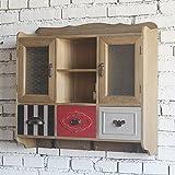 BGCG Hängeschränke, Schließfächer, mit Haken Wandschrank, Balkon Schlafzimmer Esszimmerschränke, American Retro Massivholz Küchenschränke Hängeschränke ( Farbe : A )
