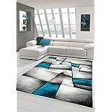 Sala de estar diseñador Alfombra Alfombra contemporánea alfombras de pelo bajo con el patrón de diamantes de recorte de contorno Turquesa Gris Blanco Negro Größe 160x230 cm