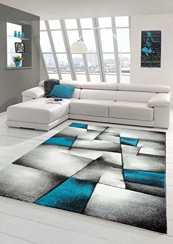 Designer Teppich Moderner Teppich Wohnzimmer Teppich Kurzflor Teppich mit Konturenschnitt Karo Muster Türkis Grau Weiß Schwarz Größe 160x230 cm