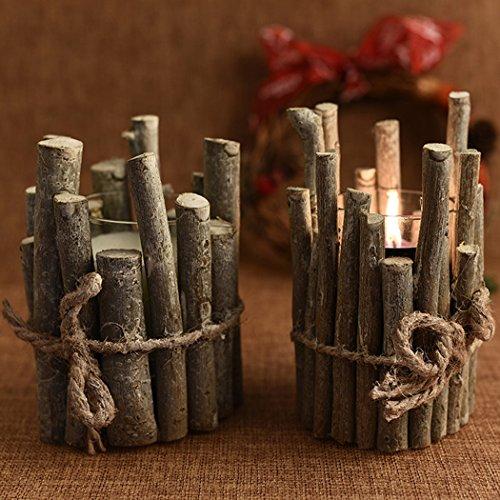 Candelabro de Navidad, Funpa Candelero Soporte de Vela de Madera para la Decoración de Navidad