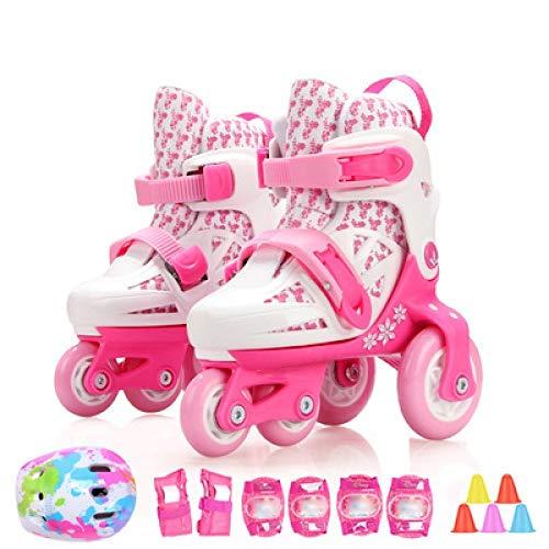 Inline Skate Roller, Inline Skates, Jungen Mädchen Kleinkinder Verstellbare 4 Räder Inline Skates, Stylish Design Anfänger Rollschuhe , Für 3-8 Jahre Alt,PinkWhite-S