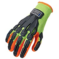 ProFlex 921 Thermal Rubber-Dipped Impact-Reducing Work Gloves, Lime, Medium