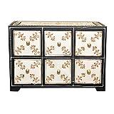 Orientalische Mini-Kommode handbemalte Apotherschränkchen mit 6 Schubladen | Shabby Chic Look Schubladenschrank Handmade Schminkkasten Holz Kästchen Schatulle Box | Schmuckkasten Amit