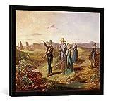 Gerahmtes Bild von Carl Spitzweg Engländer in der Campagna, Kunstdruck im hochwertigen handgefertigten Bilder-Rahmen, 70x50 cm, Schwarz matt