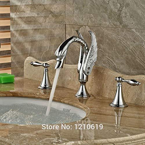 Neu Luxus Schwan Waschbecken Wasserhahn Mischbatterie Chrom-Finish Becken Wasserhahn Kalt- und Warmwasserhahn Doppelgriffe -
