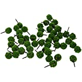 Magideal 50 Pieces Ball Shaped Model Trees DIY Landscape Scenery N Scale Grass Green