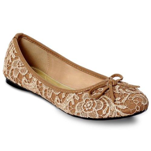 CASPAR Chaussures pour femme / Ballerines avec applications en tissu crochet et dentelle - plusieurs coloris - SBA005 Beige