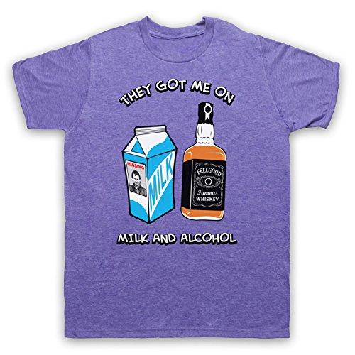 Inspiriert durch Dr Feelgood Milk & Alcohol Unofficial Herren T-Shirt Jahrgang Violett