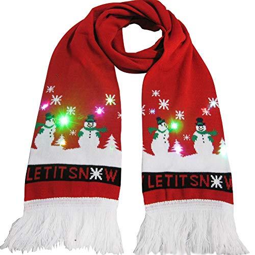 Ganmaov Weihnachten leuchtenden Schal, Winter warm leuchten stricken Schal mit Quaste für Weihnachtsdekoration Kinder Weihnachtsgeschenk innate