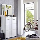Lomado Garderoben Set ● 2-teilige Flurgarderobe Flurmöbel in Hochglanz weiß ● Schuhschrank & Spiegel ● Made in Germany