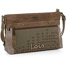 LOIS - 91630 Bolso de mujer bandolera. Cierre con cremallera. Bolsillos delante y detrás con cremallera. Bolsillo interior. Bordado.