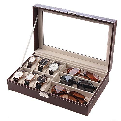 Dillis custodia in pelle per orologio, custodia per occhiali da sole multifunzione per portaoggetti, espositore per 6 + 3 negozi centro commerciale (color : coffee, material : p)