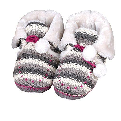 Tofern Damen/Mädchen Hausschuhe Pantoffel Hüttenschuhe Stiefel mit Bommel Strick weich warm rutschfest Winter Wohnzimmer Schlafzimmer, Grau& Weiß EU 33-34