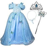 GenialES Costume Vestito Blu da Ragazze Diadema Collana Magic Wand Principessa Cenerentola con Farfalla Spille per Partito Cosplay Halloween Carnevale Compleanno