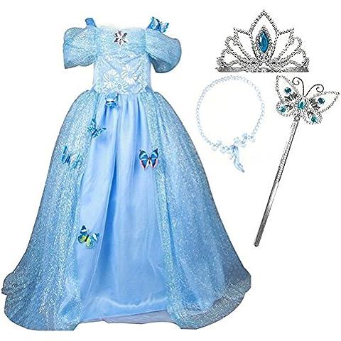 GenialES Disfraz de Vestido Princesa Azul con Diadema Collar Varita Mágica Broches de Mariposas para Cumpleaños Carnaval Fiesta Cosplay Halloween 3-10 años