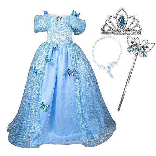 GenialES Costume Vestito Blu da Ragazze Diadema Collana Magic Wand Principessa Cenerentola con Farfalla Spille per Partito Cosplay Halloween Carnevale Compleanno Taglia 130 5-6anni