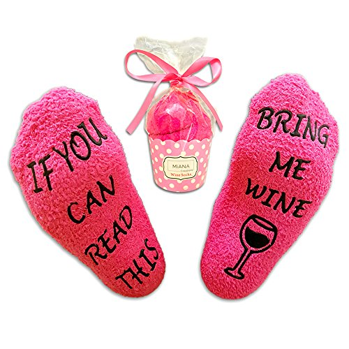 Luxury Pink Wine Socks with Cupcake Gift Packaging: Romantic Gifts for Her with If You can Read This Bring me Wine Phrase - Funny Wine Accessories for Women - Present for Housewarming or Wife by Miana
