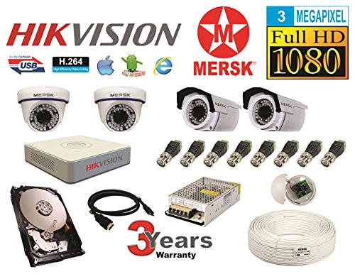 Hikvision 4 Ch Turbo HD Dvr & Mersk Full HD (3MP) CCTV Camera Kit with (All Required Accessories) Note : No Installation Service