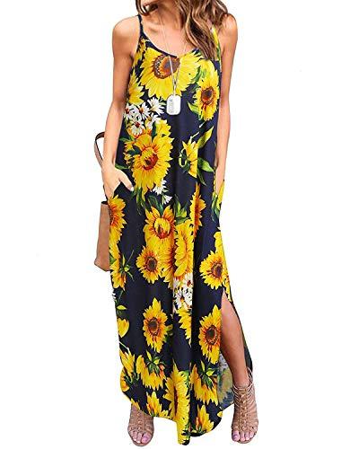 Kidsform Damen Kleider Großen Größen Maxikleider Sommerkleider Elegant Strandkleider Kurzarm V-Ausschnitt Split Lang Kleid S - Split-baumwoll-mischung
