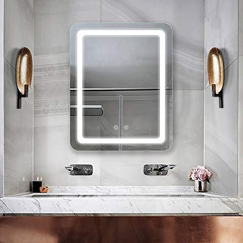 WUSTEGCCF Espejo De BañO Inteligente Antivaho,Espejo Retroiluminado con Pantalla, Espejo De Pared para Maquillaje Casero, Espejo A Prueba De Explosiones,A