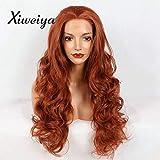 Xiweiya Perücke, lang, Rot gewellt, 350# Cooper Red Perücke, Synthetik-Spitze, vorne, gewellt, für Damen, Drag Queen mit hitzebeständigem Faser, Ersatzperücke, 61 cm