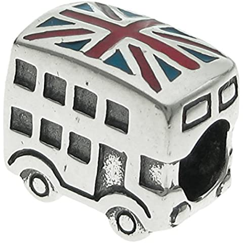 Argento Sterling 925 UK Regno Unito Coach Bus smalto europeo Bead Charm