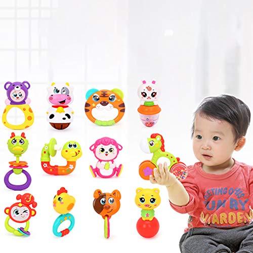 Webla Frühkindliche Spielzeuge Baby Shake Beißring Shaker Greifer und Musik rotierenden Spielzeug Rassel ersten Spielzeug, Kunststoff Lippenstift-video-kameras