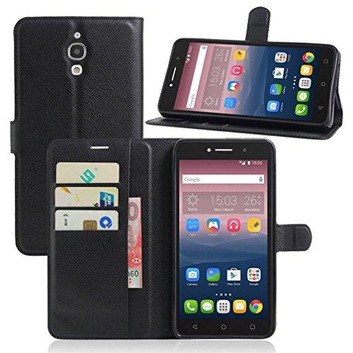 KATUMO® Hülle für Alcatel Pixi 4 (6 Zoll), Flip Cover Brieftasche Book Style Handyhülle für Alcatel Pixi 4 6'' Case Cover Handytasche im Portemonnaie Design, Schwarz