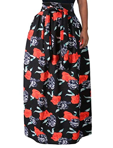 Andode Women African Plus Size High Waisted Belted Trim-Fit Maxi Skirt 4 L -