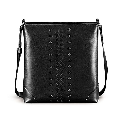 Teemzone Donna & Uomo Pelle Borsa a tracolla Body Bag Croce borsetta Sacchetto del messaggio con rivetti e tessuti modello (Nero) Nero