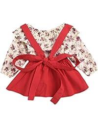 Btruely Herren Vestido de Niña Floral Bowknot Vestido de la honda Princesa Vestido Bautizo Bebé Niñas Vestidos de Sin Manga Primavera Verano Ropa para 1-5 años