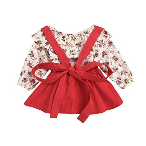 Btruely Herren Vestido de Niña Floral Bowknot Vestido de la honda Princesa Vestido Bautizo Bebé Niñas Vestidos de Sin Manga Primavera Verano Ropa para 1-5 años (4T, Rojo)