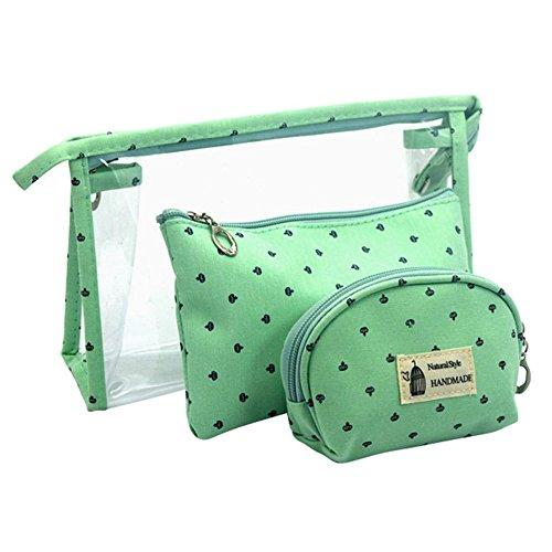 Longra Donna Sacchetto cosmetico trasparente, sacchetto di stoccaggio, sacchetto della borsa Verde