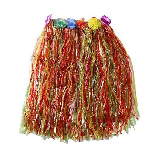 Pinhan Bunter Hawaiianer Hula Grass BH Rock Tropical Hula Grass Rock Hawaiianisches Kostüm für Sommerparty Beach Dance Kleid, Bunter 60cm Rock