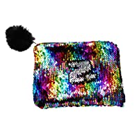 Xinyanmy Reversible Glitter Makeup Pouch with Pom Pom Portable Mermaid Sequin Makeup Bag Fashion Double Color Cosmetic Bag Purse for Girls Women