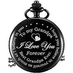 Reloj de Bolsillo de Papá - Regalo de Día de Padre Regalo de Cumpleaños de Abuelo Significado (Esfera Negra)