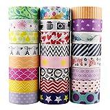 Faylapa 24 Rouleaux Washi Tape Set,Bandes de masquage décoratives colorées de 15mm de Large,Ruban adhésif pour l'emballage de Cadeaux de Bricolage Artisanat Scrapbooking