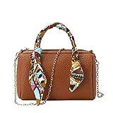 Calvinbi Taschen Damen Umhängetasche Messenger Bag Handtasche Bostontasche Beuteltasche Design Retro Vintage mit Schal
