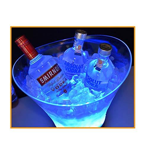 NJXM LED Eiskübel, 6L Großraum Flaschenkühler - Sektkühler - Weinkühler - Getränkekühler, für Party, Haus, Bar, Etc,Multicolor