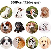 300 Pieces Dog Stickers 1.5 Inch Puppy Stickers Adorable Labels for Kids Birthday Party Favors, Classroom Reward, Scrapbooking (12 Designs)